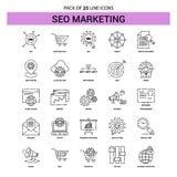 SEO Marketing Line Icon Set - stile tratteggiato del profilo 25 illustrazione vettoriale