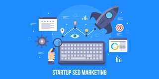 Startup business, search engine optimization, startup seo, growth hacking, boost startup concept. Flat design vector banner. Seo marketing strategy for startup vector illustration