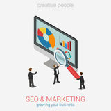 SEO marketing website analytics report flat 3d web isometric. Infographic concept vector. Micro businesspeople with magnifier glass deeply peer into data on Royalty Free Stock Image