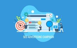 Seo marknadsföring, digital reklamkampanj, affärsman som talar med marknadsföringsexperten, köpare med ett begrepp för shoppa vag stock illustrationer