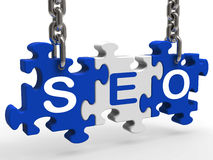 Seo Means Search Engine Optimization And Promotion Stock Photos