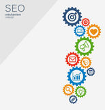 SEO mechanism concept. Abstract background with integrated gears and icons for strategy, digital, internet, network Royalty Free Stock Images