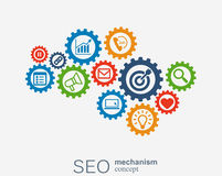 SEO mechanism concept. Abstract background with integrated gears and icons for strategy, digital, internet, network Royalty Free Stock Photo