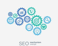 SEO mechanism concept. Abstract background with integrated gears and icons for strategy, digital, internet, network Stock Images