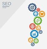 Seo mechanizmu pojęcie Abstrakcjonistyczny tło z zintegrowanymi przekładniami i ikonami dla strategii cyfrowymi, internet, sieć Obrazy Royalty Free