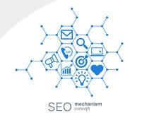 Seo mechanizmu pojęcie Abstrakcjonistyczny tło z zintegrowanymi przekładniami i ikonami dla strategii cyfrowymi, internet, sieć Obraz Royalty Free
