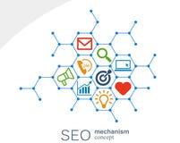 Seo mechanizmu pojęcie Abstrakcjonistyczny tło z zintegrowanymi przekładniami i ikonami dla strategii cyfrowymi, internet, sieć Zdjęcie Royalty Free
