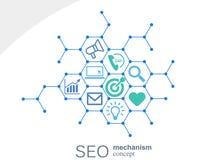 Seo mechanizmu pojęcie Abstrakcjonistyczny tło z zintegrowanymi przekładniami i ikonami dla strategii cyfrowymi, internet, sieć Obrazy Stock