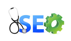 Seo medical investigation concept. Illustration design over white Royalty Free Stock Photos