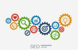 Seo mekanismbegrepp Abstrakt bakgrund med inbyggda kugghjul och symboler för strategi som är digitala, internet, nätverk Vektor Illustrationer