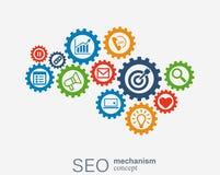 Seo mekanismbegrepp Abstrakt bakgrund med inbyggda kugghjul och symboler för strategi som är digitala, internet, nätverk Stock Illustrationer