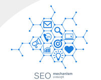 Seo mekanismbegrepp Abstrakt bakgrund med inbyggda kugghjul och symboler för strategi som är digitala, internet, nätverk Royaltyfri Illustrationer