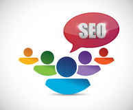 Seo message people illustration. Design over a white Stock Photos