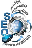 SEO Metal Gear. Illustration with metal written SEO, metal gear, mouse and blue globe Royalty Free Stock Images