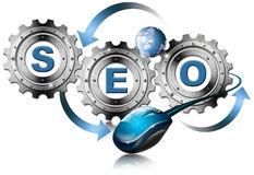 SEO Metal Gears. Illustration with metal gears, globe, mouse and written SEO Stock Photography