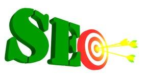 SEO mit Ziel und Pfeil, Illustration 3D Stockfotografie