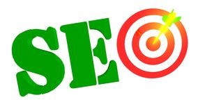 SEO mit Ziel und Pfeil im bulleye, Illustration 3D Lizenzfreies Stockbild