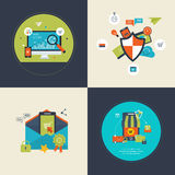 SEO and mobile marketing, social network security. Flat design modern vector illustration icons set of analytics search information, SEO and mobile marketing Stock Images