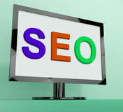 Seo On Monitor Shows Search Engine Optimization Online Stock Photos