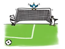 SEO Moving And Shifting The Goalposts Cartoon Illustration. Need solution to hit the target with the never ending shifting of the goalposts by the search engine Royalty Free Stock Images