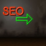Seo Neon Represents Glow Search And Engine Royalty Free Stock Photos
