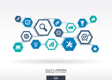 SEO network. Hexagon abstract background. With lines, polygons, integrate flat icons. Connected symbols for digital network, connect, analytics, social media Stock Photo
