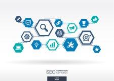 SEO network. Hexagon abstract background Stock Photo