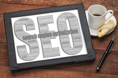SEO - Nube de la palabra de la optimización del Search Engine Foto de archivo libre de regalías
