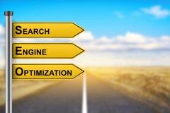 SEO o palabras de la optimización del Search Engine en señal de tráfico amarilla Fotos de archivo