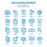 Seo och app-utveckling runt om begreppsmässig motorbild för oklarhet letters nyckelordet optimizationseo Internet e-kommers Tunn  stock illustrationer