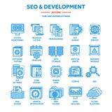 Seo och app-utveckling runt om begreppsmässig motorbild för oklarhet letters nyckelordet optimizationseo Internet e-kommers Tunn  royaltyfri illustrationer