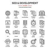Seo och app-utveckling runt om begreppsm?ssig motorbild f?r oklarhet letters nyckelordet optimizationseo Internet e-kommers Tunn  stock illustrationer