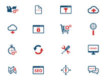 SEO och för utveckling symboler enkelt Arkivbilder