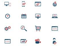 SEO och för utveckling symboler enkelt Arkivfoton