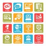 Seo och internettjänstsymbolsuppsättning royaltyfri illustrationer