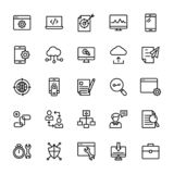 Seo och rengöringsduklinjen symboler packar vektor illustrationer