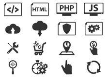 SEO och utvecklingssymbolsuppsättning Arkivbild