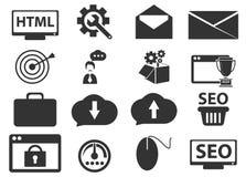 SEO och utvecklingssymbolsuppsättning Royaltyfri Bild
