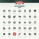 Seo och utvecklingssymbolsuppsättning Arkivfoton