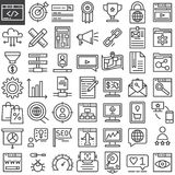 Seo online marketing geplaatste lijnpictogrammen stock illustratie