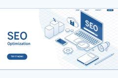 Seo-Optimierungs-Webseitenschablone Isometrisches Konzept des flachen Vektors Stockbilder