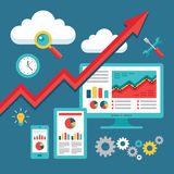 SEO (optimisation de moteur de recherche) programmant - tendance à la hausse d'affaires illustration stock