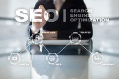 Seo Optimisation de Search Engine Concept de technologie d'andInetrmet de marketing en ligne de Digital Images libres de droits