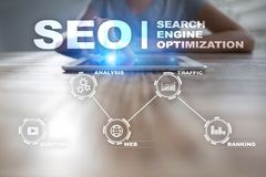 Seo Optimisation de Search Engine Concept de technologie d'andInetrmet de marketing en ligne de Digital Illustration de Vecteur