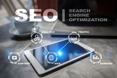 Seo Optimisation de Search Engine Concept de technologie de marketing en ligne de Digital Photographie stock