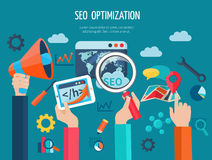 Seo Optimization Concept With Hands Royalty Free Stock Photography