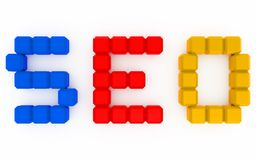 Seo optimization 3d. Letters made with arranged colored cubes Royalty Free Stock Photo