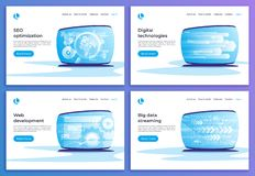 SEO optimization, digital technologies, web development, big dat. A streaming vector concepts. Landing page templates. Global swatches vector illustration