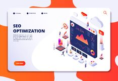 Seo optimization. Ecommerce, internet marketing and online platform isometric 3d concept. Landing web page vector. Template. Seo optimization and marketing vector illustration