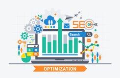 SEO optimization. Flat illustration analytics design vector illustration